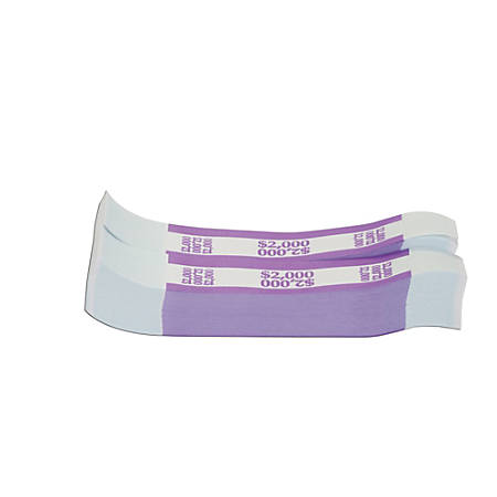 Coin-Tainer® Currency Straps, Violet, $2,000, Pack Of 1,000