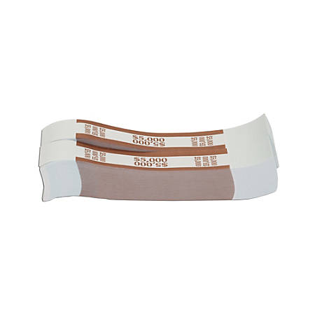Coin-Tainer® Currency Straps, Brown, $5000, Pack Of 1,000