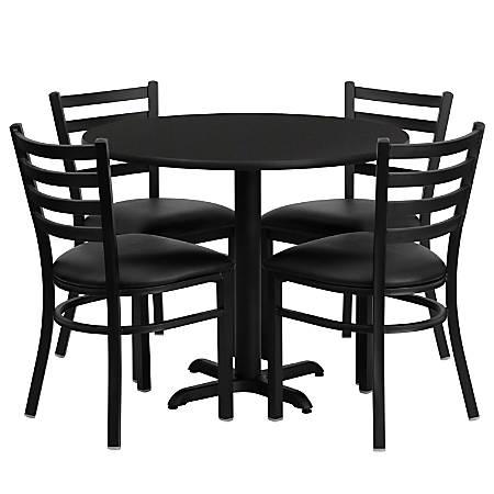Flash Furniture Round Laminate Table Set With 4 Metal Chairs, Black