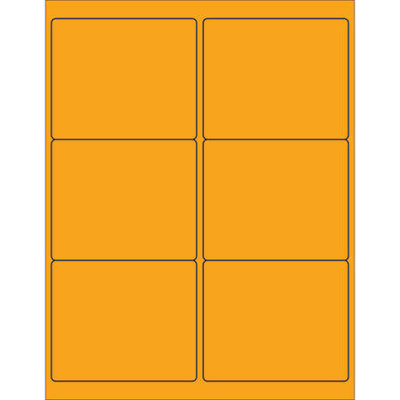 "Office Depot® Brand Labels, LL180OR, Rectangle, 4"" x 3 3/8"", Fluorescent Orange, Case Of 600"