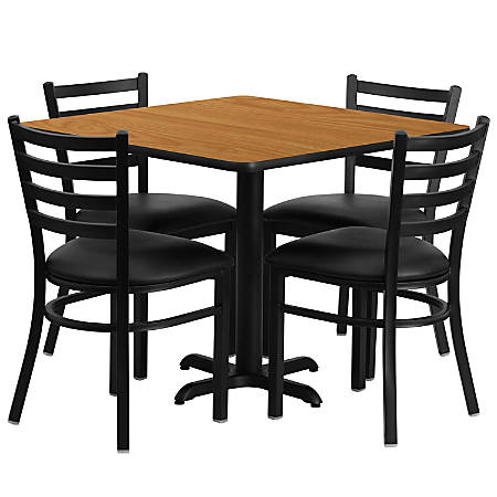Flash Furniture Square Laminate Table Set With 4 Metal Chairs, Natural/Black