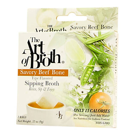 The Art of Broth Beef Flavored Sipping Broth, 2 Bags Per Pack, Box Of 10 Packs