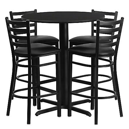 Flash Furniture Round Bar-Height Table Set With 4 Metal Bar Stools, Black