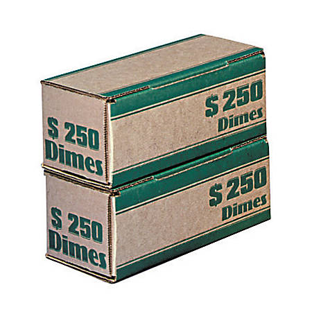 MMF Industries™ Pack 'n Ship Coin Transport Boxes, Dimes, $250.00, Carton Of 50