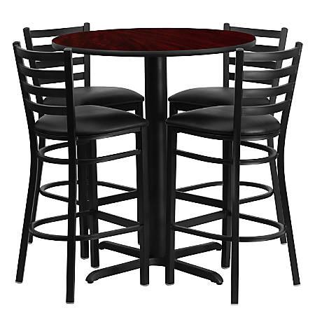Flash Furniture Round Bar-Height Table Set With 4 Metal Bar Stools, Mahogany/Black