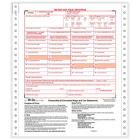 "ComplyRight™ W-3C Continuous Tax Forms, 2-Part, 9"" x 11"", Pack Of 100 Forms"