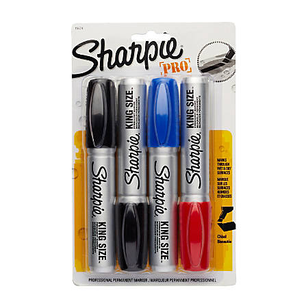 Sharpie® King-Size™ Permanent Markers, Assorted Colors, Pack Of 4