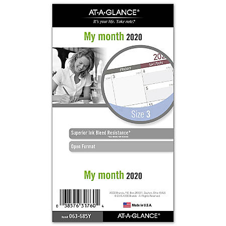 """Day Runner® Monthly Planner Refill, 3-3/4"""" x 6-3/4"""", Gray/Red, January to December 2020, 063-685Y"""