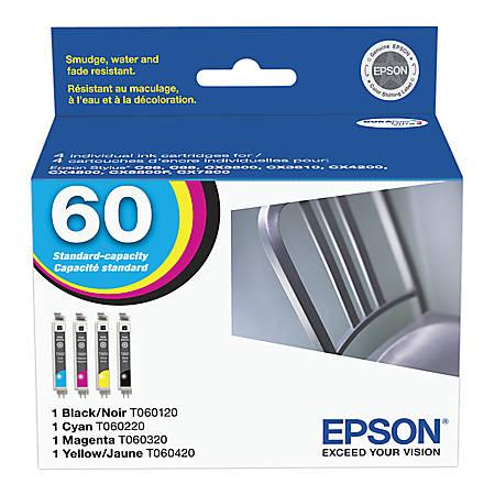 Epson® 60, (T060120-BCS) DuraBrite® Black/Color Ink Cartridges, Pack Of 4