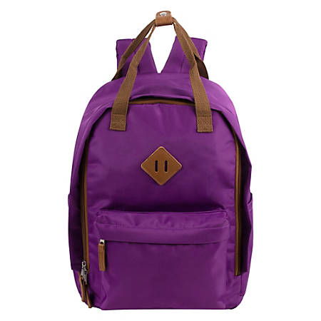 "Trailmaker Twin-Handle Square Backpacks With 17"" Laptop Pocket, Purple, Pack Of 24 Backpacks"