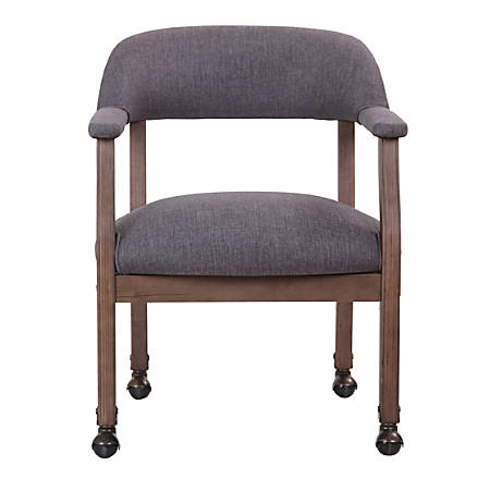 Boss Traditional Guest Chair, Casters, Slate Gray/Brown