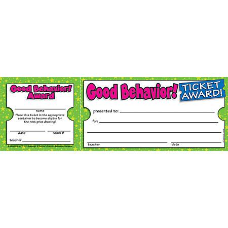 "Scholastic Ticket Awards, Good Behavior, 8 1/2"" x 2 3/4"""