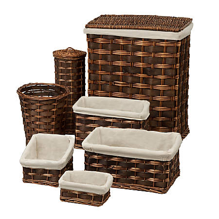 Honey-Can-Do 7-Piece Hamper And Bath Set, Chocolate Brown