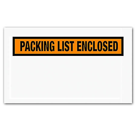 "Office Depot® Brand ""Packing List Enclosed"" Envelopes, Panel Face, 5 1/2"" x 10"", Orange, Pack Of 1,000"
