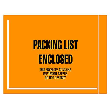 "Office Depot® Brand ""Packing List Enclosed"" Envelopes, Full Face, 4 1/2"" x 6"", Fluorescent Orange, Pack Of 1,000"