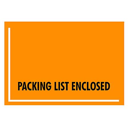 "Office Depot® Brand ""Packing List Enclosed"" Envelopes, Full Face , 4 1/2"" x 6"", Fluorescent Orange, Pack Of 1,000"