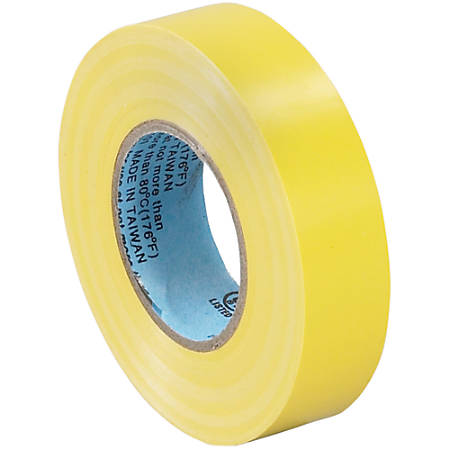 """Tape Logic® 6180 Electrical Tape, 1.25"""" Core, 0.75"""" x 60', Yellow, Case Of 10"""