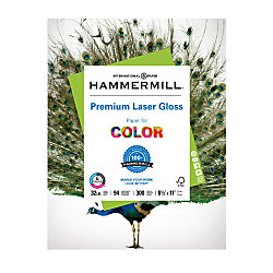 """Hammermill® Color Gloss Laser Paper, 8 1/2"""" x 11"""", 32 Lb, Pack Of 300 Sheets"""
