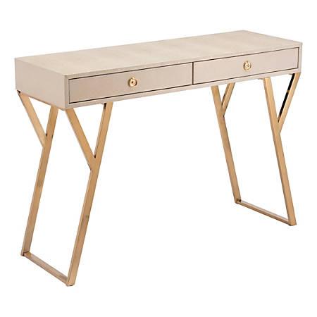 Zuo Modern Asti Console Table, Rectangular, Cream/Gold