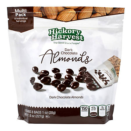 Hickory Harvest Dark Chocolate Almonds, 1-Oz Packets, 8 Packets Per Bag, Pack Of 3 Bags