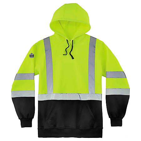 Ergodyne GloWear 8373 Class 3 Hi-Vis Pullover Hoodie, Large, Black/Lime