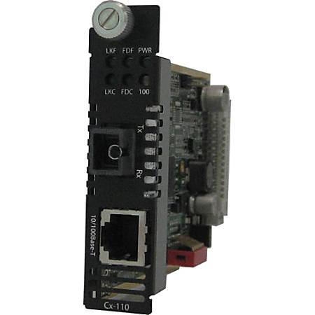 Perle C-110-S1SC40D Media Converter - 1 x Network (RJ-45) - 1 x SC Ports - 100Base-BX, 10/100Base-TX - Internal