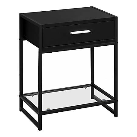 Monarch Specialties Side Accent Table With Glass Shelf, Rectangular, Black