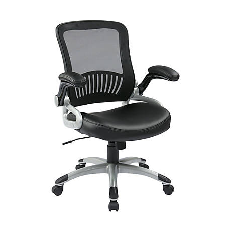 Office Star™ Work Smart™ Mesh Mid-Back Chair, Black/Silver