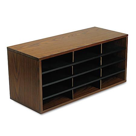 "Fellowes® 12-Compartment Desktop Organizer, 12 15/16"" x 11 7/8"", Medium Oak"