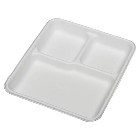 "SKILCRAFT® 3-Compartment Disposable Plates, 8"" x 10"", 100% Recycled, White, Carton Of 500 (AbilityOne 7350-00-926-9233)"
