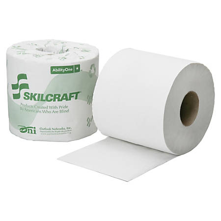 """SKILCRAFT® 2-Ply Individual Toilet Tissue Rolls, 4"""" x 3 3/4"""", 100% Recycled, White, 500 Sheets Per Roll, 96 Rolls (AbilityOne 8540-01-630-8729)"""