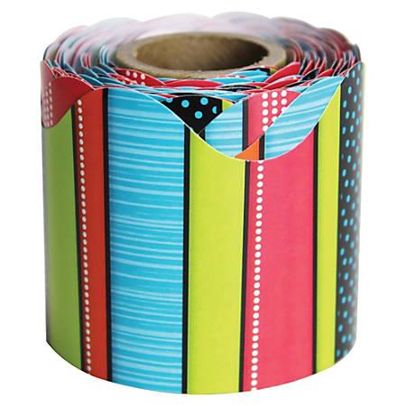 "Carson-Dellosa Colorful Owls Continuous Roll Scalloped Border - Fun Theme/Subject (Scalloped) Shape - Stylin' Stripes - 2.25"" Width x 432"" Length - Multicolor - 1 Roll"
