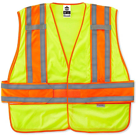 Ergodyne GloWear Safety Vest, 2-Tone Expandable, Type-R Class 2, Medium/Large, Lime, 8240HL
