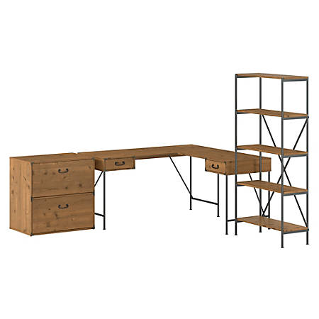 "Kathy Ireland® Home by Bush Furniture Ironworks 60""W L-Shaped Writing Desk With Lateral File Cabinet And 5-Shelf Bookcase, Vintage Golden Pine, Standard Delivery"