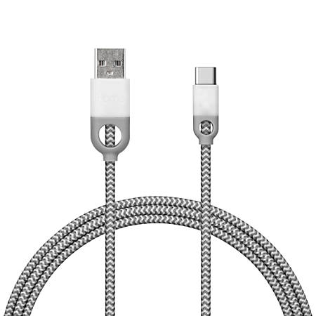 iHome Nylon USB Type-C to Male USB A 2.0 Charge & Sync Cable, 5', White, IH-CT3000W