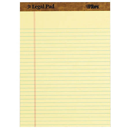 """TOPS Letr-trim Perforated Legal Pads - 50 Sheets - Double Stitched - 0.34"""" Ruled - 16 lb Basis Weight - 8 1/2"""" x 11 3/4"""" - Canary Paper - Perforated, Hard Cover - 12 / Dozen"""