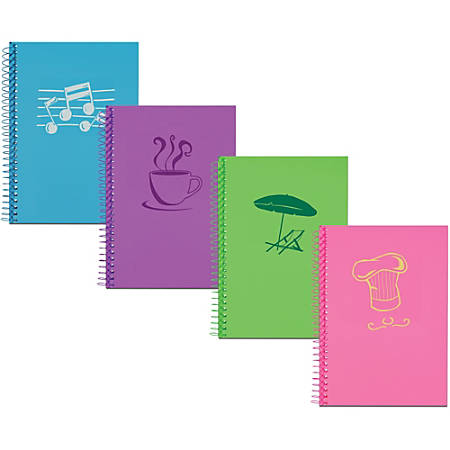 "Roaring Spring Lifenotes 4-pack Small Notebooks - 80 Sheets - Spiral Bound - 5 1/2"" x 7"" - White Paper - Pink, Purple, Aqua, Kermit Green Cover - Perforated - Recycled - 4 / Pack"