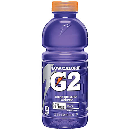 Gatorade G2 Low-Calorie Thirst Quencher, Grape, 20 Oz, Pack Of 24