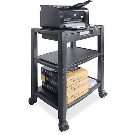 "Kantek Mobile 3-Shelf Printer/Fax Stand - 75 lb Load Capacity - 3 x Shelf(ves) - 24.5"" Height x 20"" Width x 13.3"" Depth - Floor - Black"