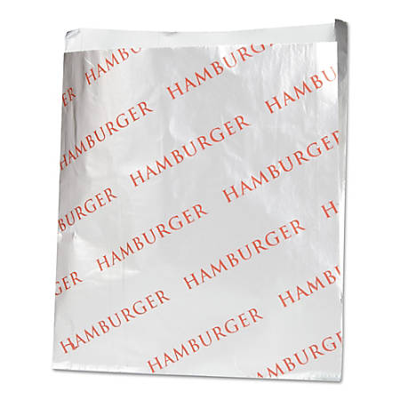 "Bagcraft Foil Single-Serve Hamburger Bags, 6 1/2""H x 6""W x 3/4""D, Silver, Pack of 1,000 Bags"