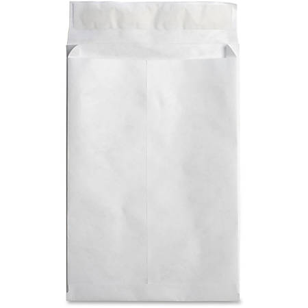 "Business Source Tyvek Expansion Envelopes - Document - 12"" Width x 16"" Length - 2"" Gusset - Peel & Seal - Tyvek - 100 / Carton - White"