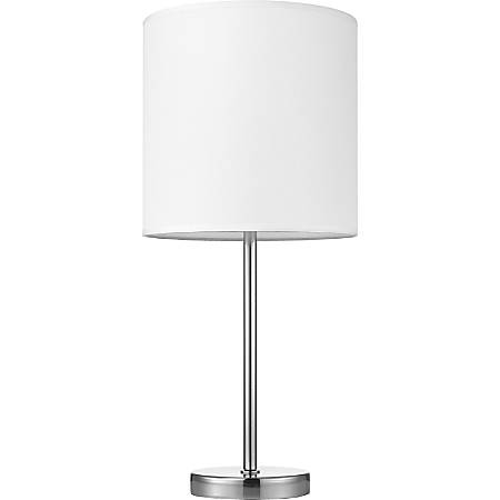 Lorell® Linen Shade LED Lamp, Table, White/Silver