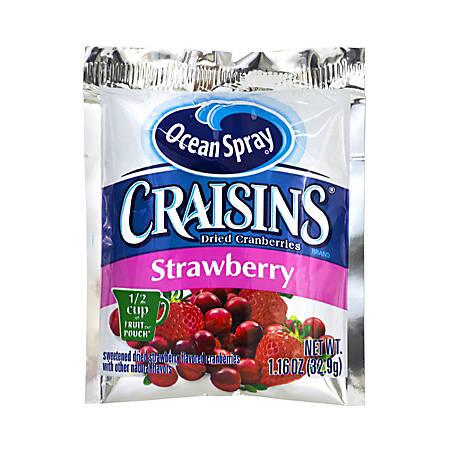 OCEAN SPRAY Craisins Strawberry Flavored Dried Cranberries, 1.16 oz, 200 Count