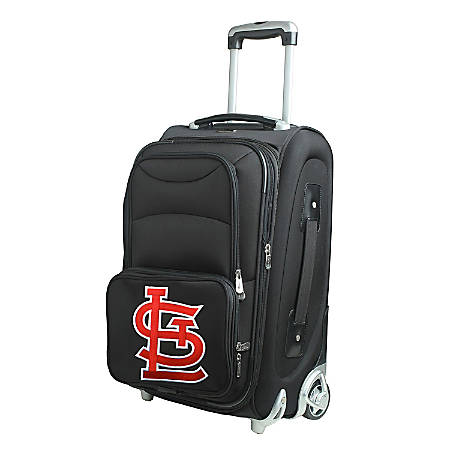 "Denco Nylon Expandable Upright Rolling Carry-On Luggage, 21""H x 13""W x 9""D, St. Louis Cardinals, Black"