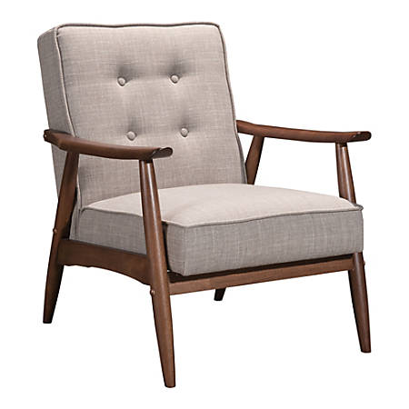 Zuo Modern Rocky Arm Chair, Putty/Walnut