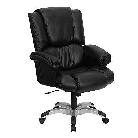 Flash Furniture OverStuffed Leather High-Back Chair, Black/Silver