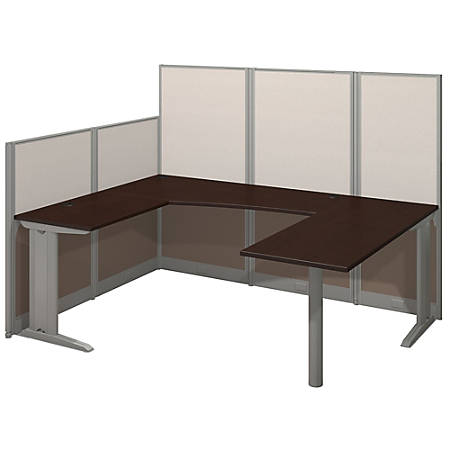 Bush Business Furniture Office In An Hour U Workstation, Mocha Cherry Finish, Premium Delivery