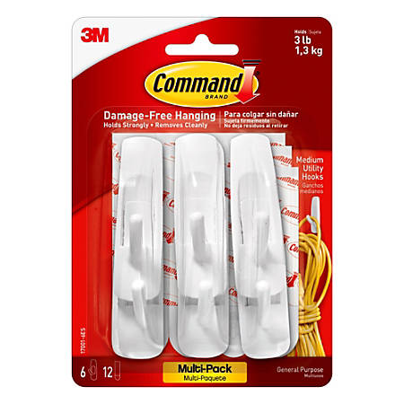 3M™ Command™ Utility Hooks, Medium, White, Pack Of 6 Hooks