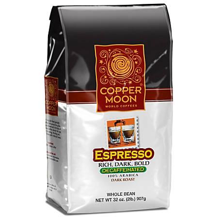 Copper Moon Coffee Whole Bean Coffee, Espresso Decaf, 2 Lb Per Bag, Case Of 4 Bags
