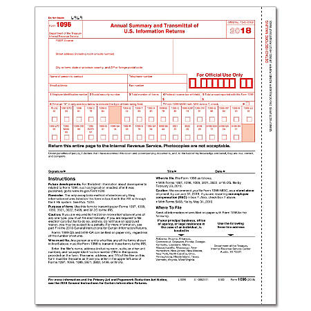"""ComplyRight™ 1096 Inkjet/Laser Tax Forms, 8 1/2"""" x 11"""", Pack Of 50"""